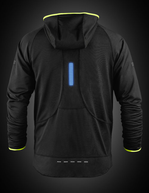 Reversible high visibility mens hoodie with blue lights. The product can be used for a range of night activities where visibility is of concern. Activities include running, biking, motorcycle, hiking, walking, etc.