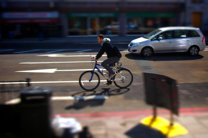 London cyclist approaching junction