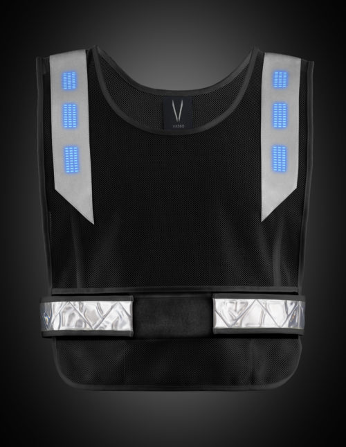 Black high visibility vest with blue lights. The product can be used for a range of night activities where visibility is of concern. Activities include running, biking, motorcycle, hiking, walking, construction, road side safety, etc.