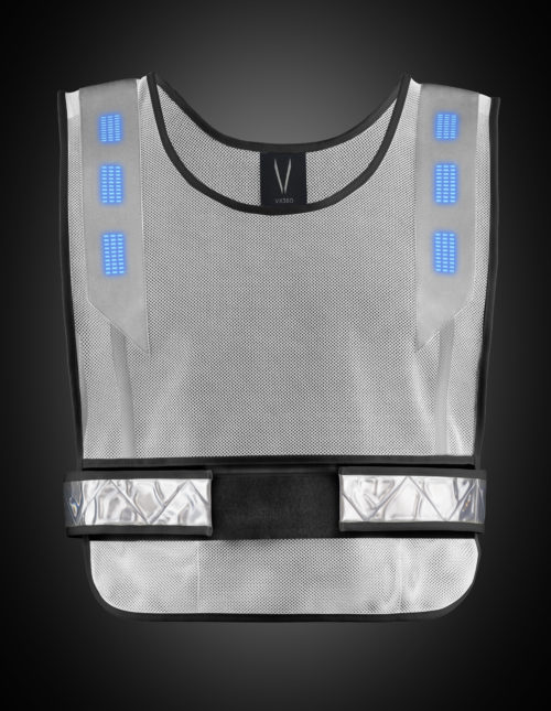 White high visibility vest with blue lights. The product can be used for a range of night activities where visibility is of concern. Activities include running, biking, motorcycle, hiking, walking, construction, road side safety, etc.