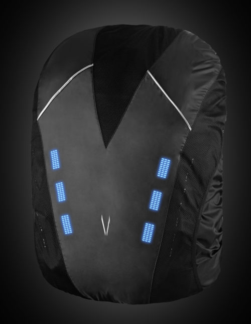 Black high visibility backpack cover with blue lights. The product can be used for a range of night activities where visibility is of concern. Activities include biking, motorcycle, hiking, walking, etc.