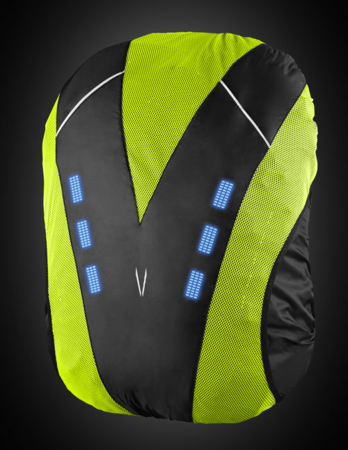 Yellow high visibility backpack cover with blue lights. The product can be used for a range of night activities where visibility is of concern. Activities include biking, motorcycle, hiking, walking, etc.