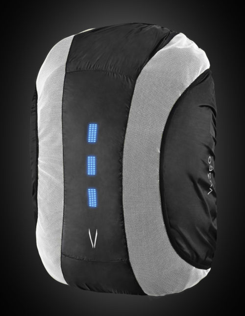White high visibility backpack cover with blue lights. The product can be used for a range of night activities where visibility is of concern. Activities include biking, motorcycle, hiking, walking, etc.
